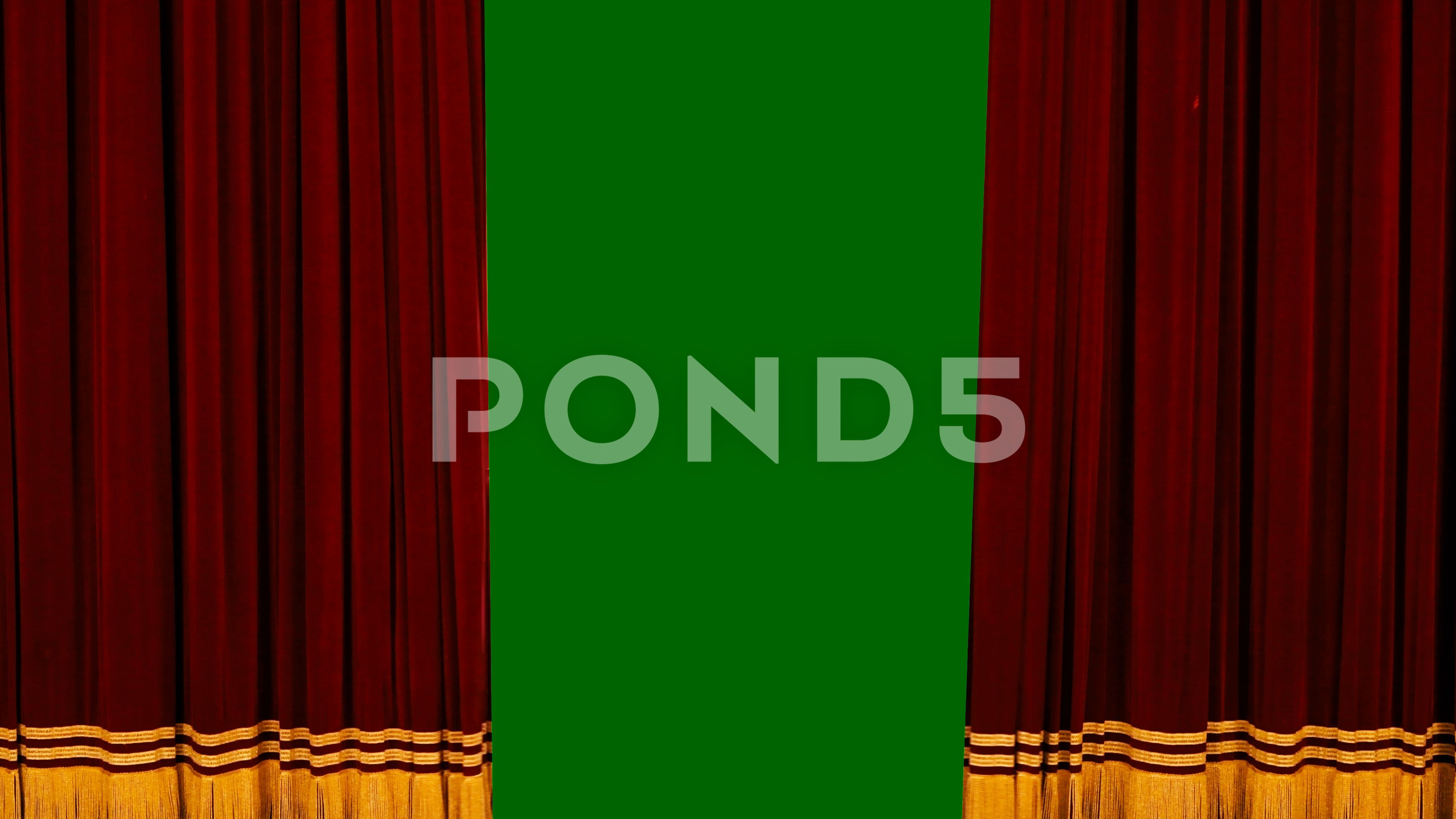 theatre red curtain opening with green