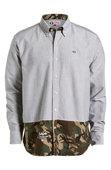 309cf480 Aape by A BATHING APE® Camo Trim Button Down Shirt (Men) | Nordstrom ...