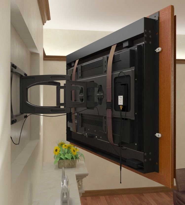 Recessed Tv Using A Swing Arm Mount With The Frame Attached To The