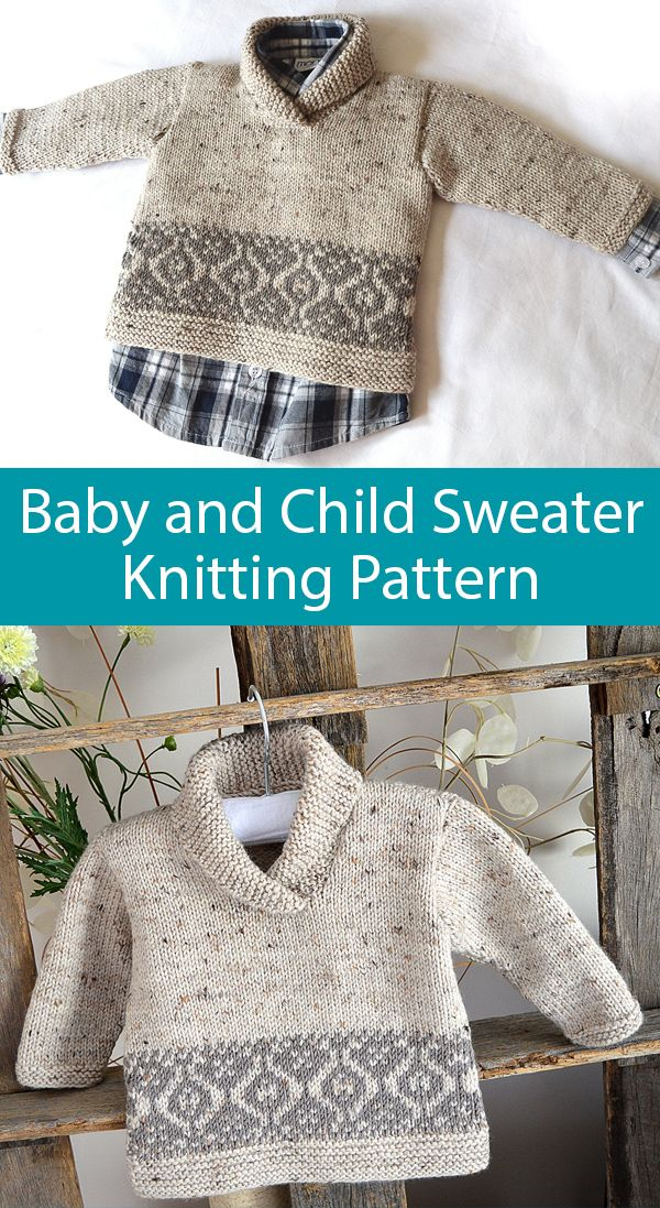 Photo of Knitting Pattern for Northgate Tweed Sweater for Baby and Children