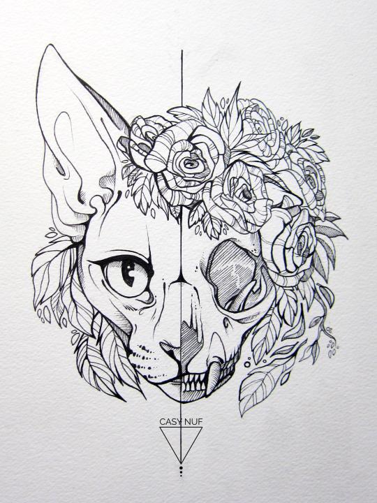Art of CasyNuf Cat tattoo, Cat skull tattoo, Latest