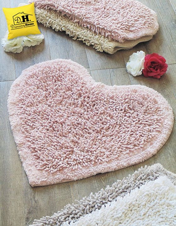 Tappeto bagno a forma di cuore Shabby Style in colore rosa