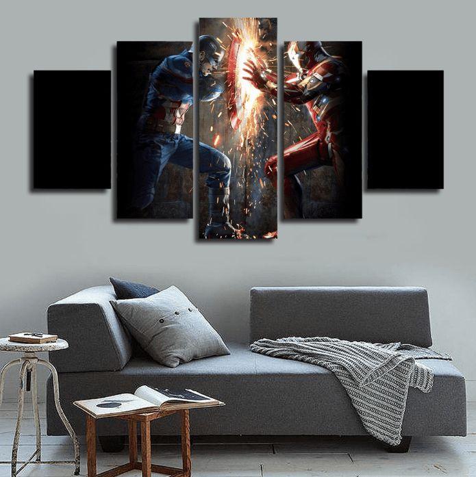 5 panel framed captain america vs iron man canvas wall art iron wall canvas and walls