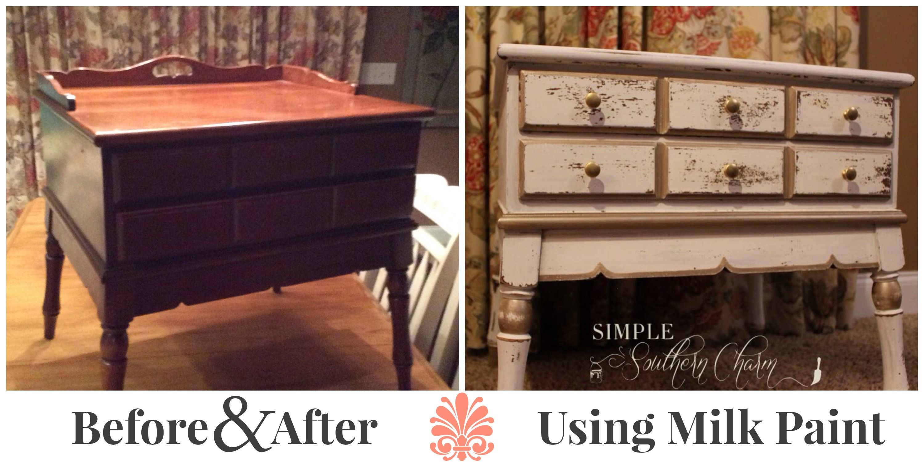 Before And After Refinished End Table Using Milk Paint Simple