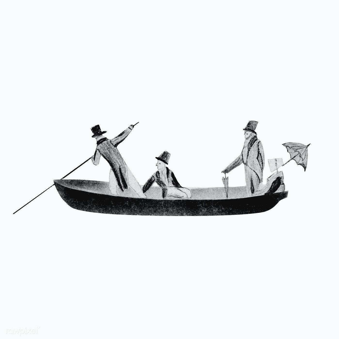 Download Premium Vector Of Victorian Men In Rowing Boat Vintage Vintage Illustration Boat Illustration Boat Icon