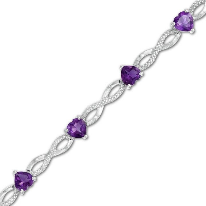 Zales 6.0mm Heart-Shaped Amethyst and Diamond Accent Infinity Bracelet in Sterling Silver - 7.5 Kb8IX3vyxn