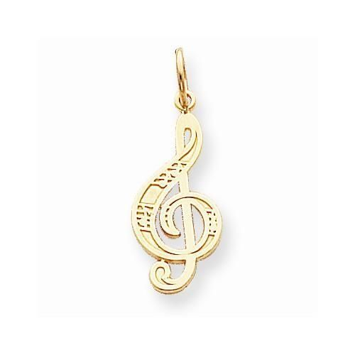 10k Yellow Gold Guitar Pendant Charm Necklace Musical Fine Jewelry Gifts For Women For Her