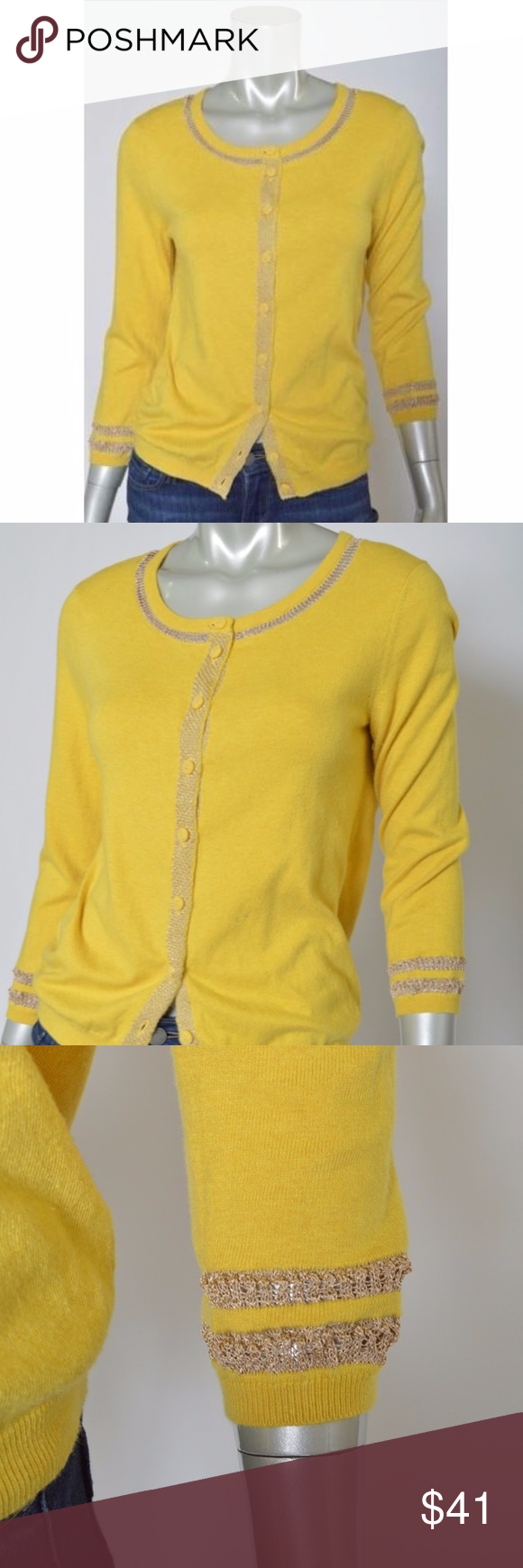 Sparrow Anthropologie Cardigan Sweater Gold Trim L | Anthropologie ...