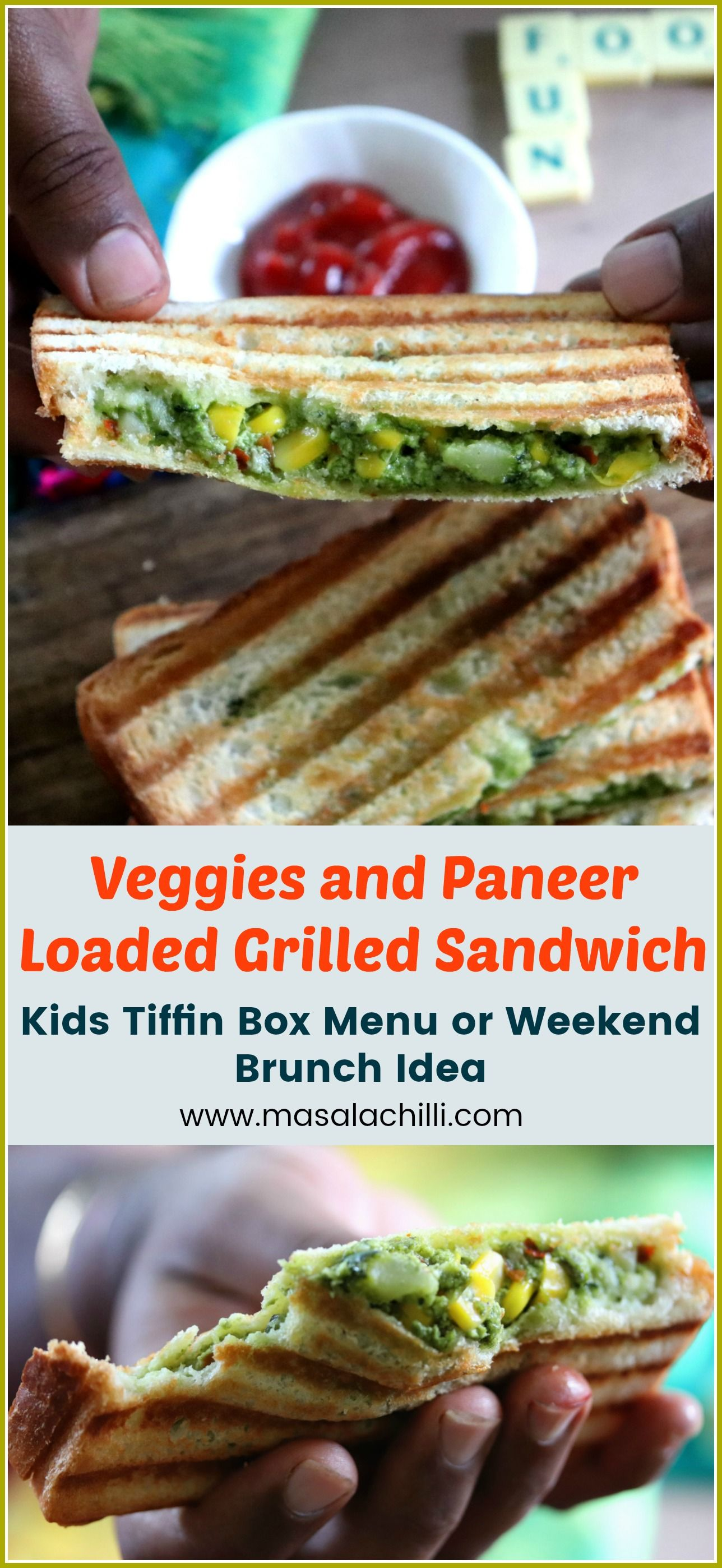 Try Making This Veggie And Cottage Cheese Loaded Grilled Sandwich For Your Kids Lunch Vegetarian Sandwich Recipes Breakfast Recipes Indian Quick Healthy Snacks