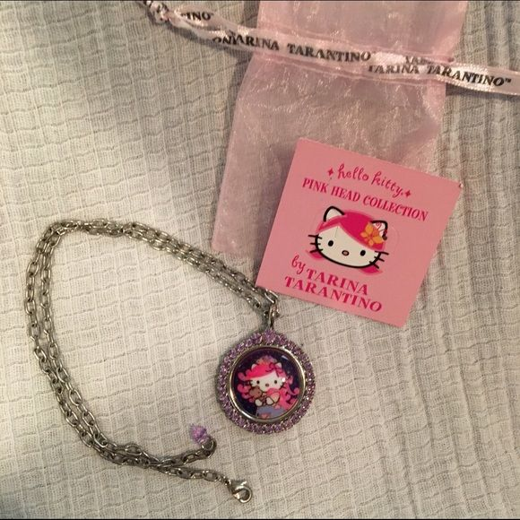 AUTHENTIC Tarina Tarantino for Hello Kitty This is a one of a kind piece. Tarina Tarantino for Hello Kitty, featuring Swarovski crystals and beautiful hello kitty cameo.. This was purchased directly from the Tarina Tarantino Boutique on Melrose (Los Angeles, CA).  Part of the first hello kitty/Tarina Tarantino Collaboration (2007). This is a beautiful gift for the true Hello Kitty fan!! Tarina Tarantino Jewelry Necklaces