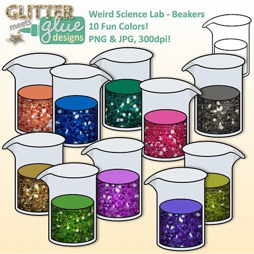 Rainbow Beakers Clip Art