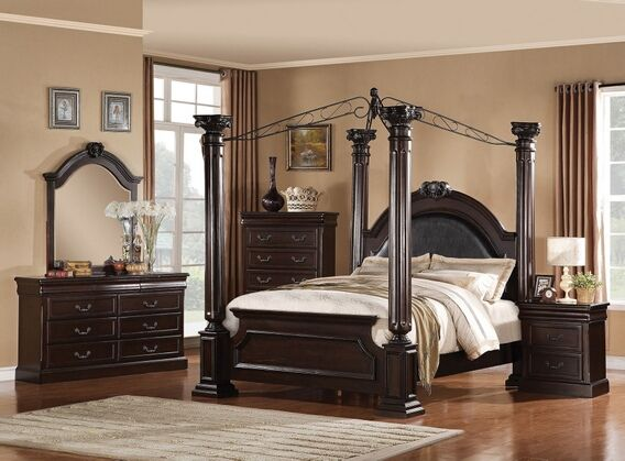 5 pc Roman Empire II Collection Dark cherry finish wood queen 4 poster  bedroom set with metal canopy and panel footboard. This set includes the  Queen bed ...