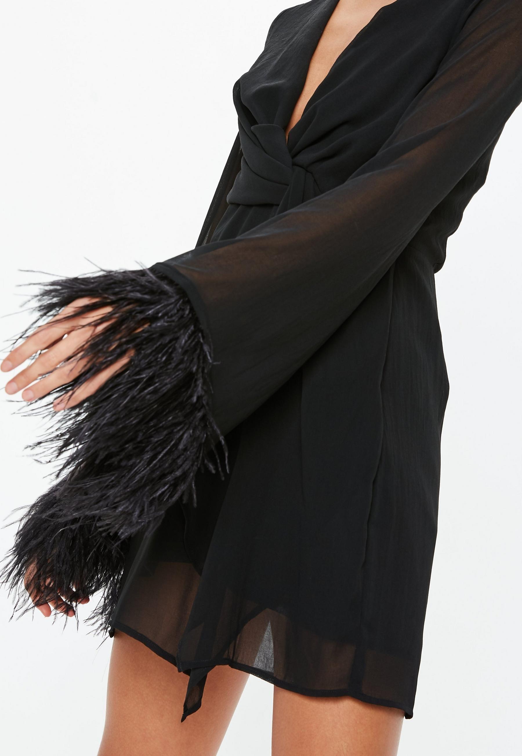 Black Twist Front Sheer Feather Trim Shift Dress Missguided Trending Dresses Shift Dress Fashion [ 2608 x 1800 Pixel ]
