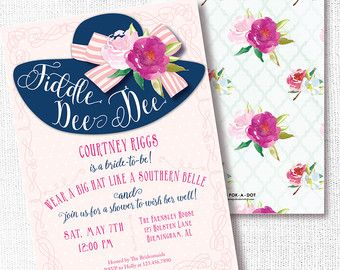 Southern Hat Shower Invitation Printable Southern Belle Invite