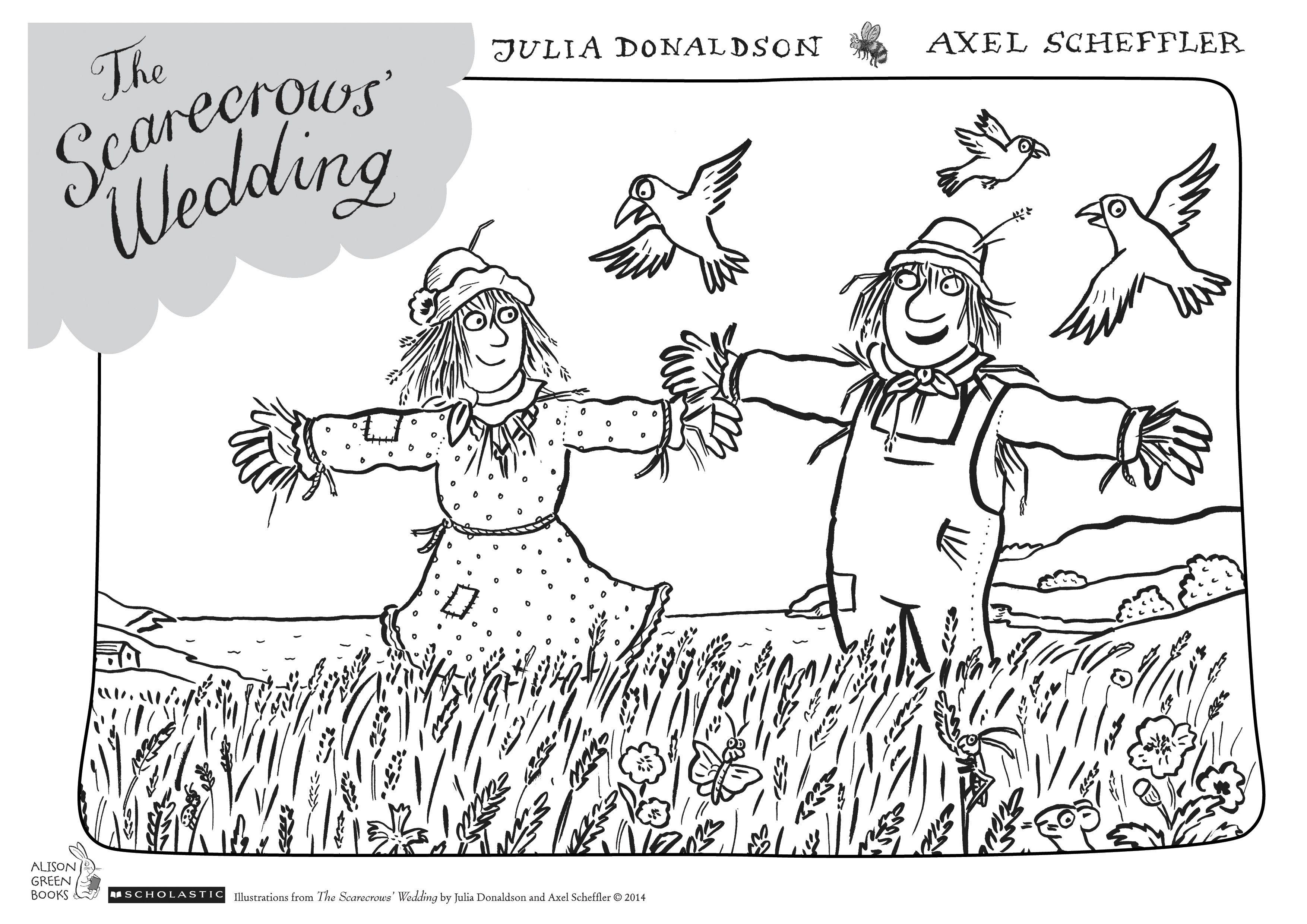 Scarecrows Wedding Colouring Sheet Act Col