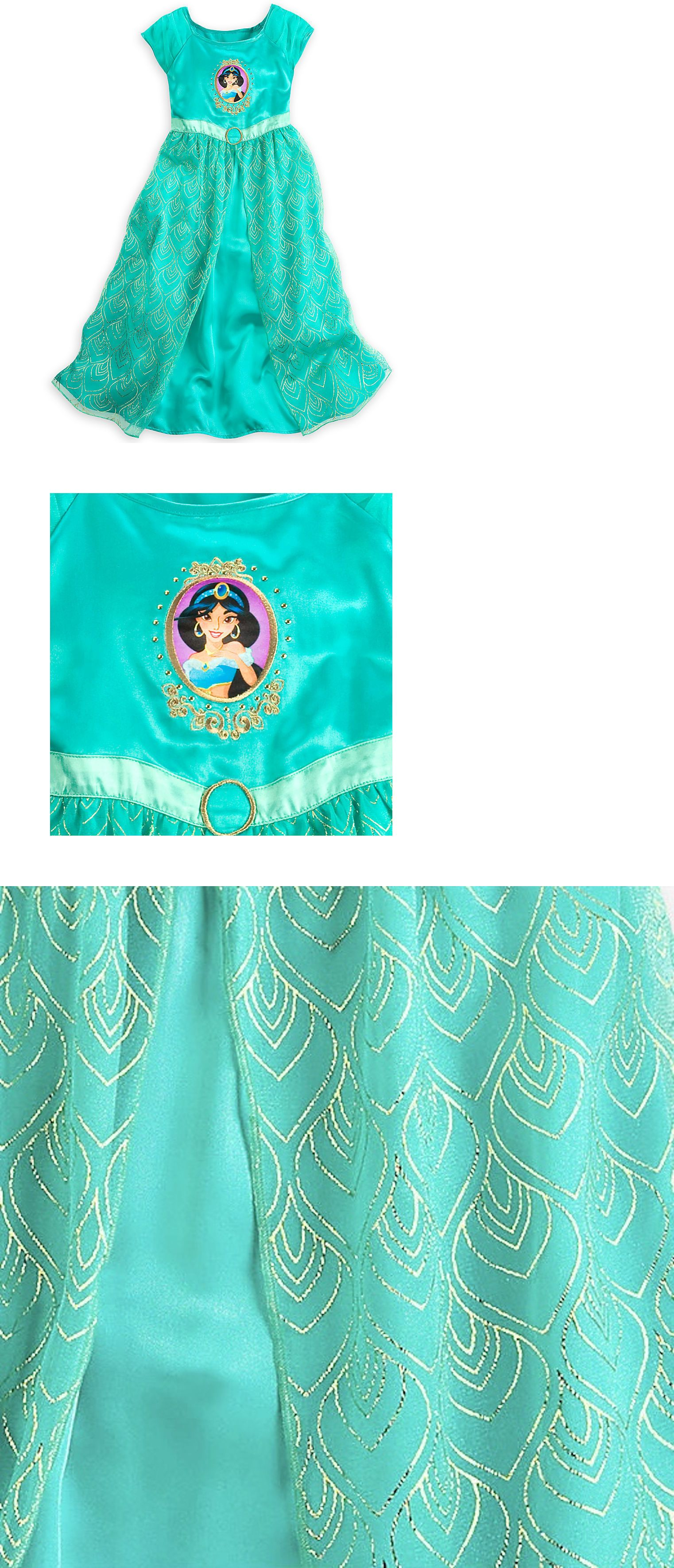 Disney Store Aladdin Princess Jasmine Short Sleeve Nightgown Pajama Girl NEW