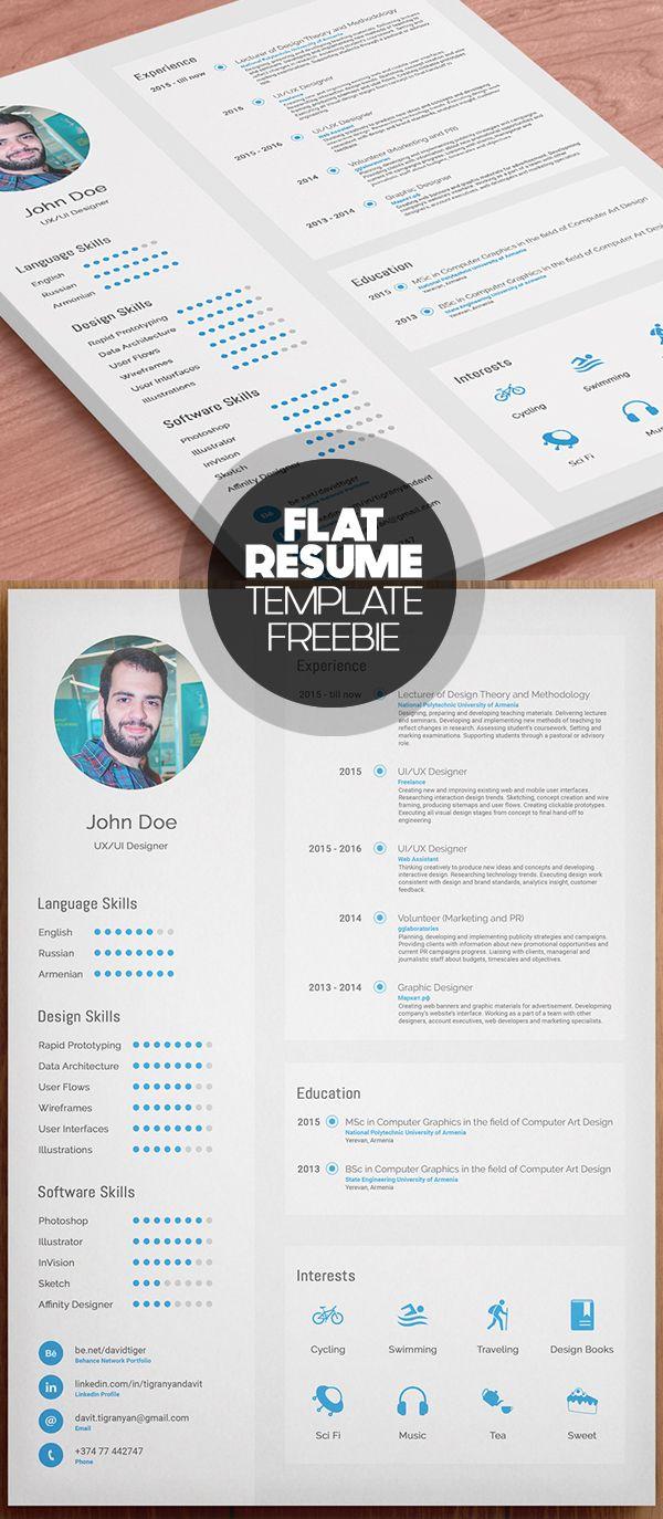 Flat Free Resume Template Cvresume Freebies Resumetemplates