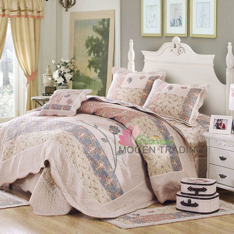 CHAUSUB Cotton Patchwork Quilt Set 4PC Coverlet Korean Handmade Bedspread  Bed Sheets Quilted Bedding Set Duvet