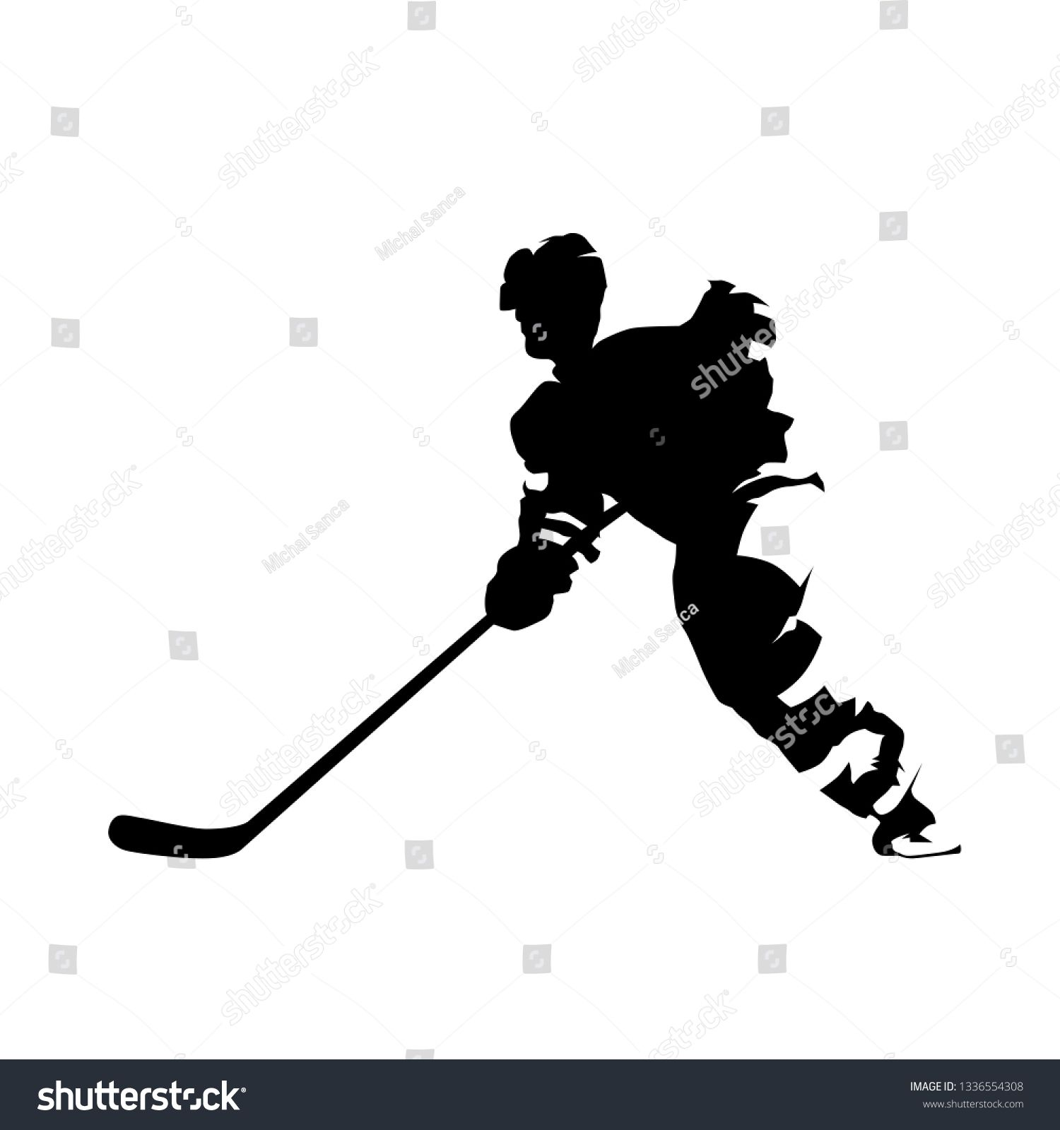 Hockey Player Skating With Puck Isolated Vector Silhouette Ice Hockey Team Sport Ad Sponsored Puck Isolated Sk Hockey Players Creative Icon Ice Hockey