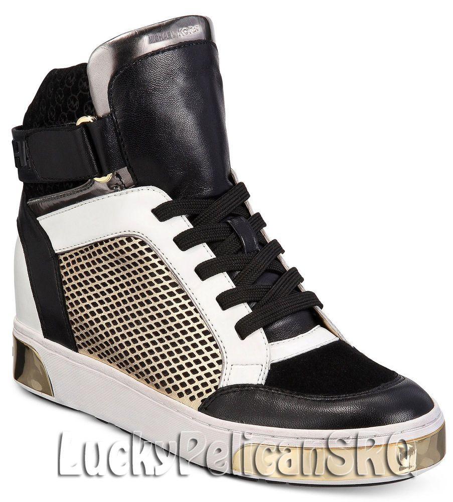 12eda3a5fcd3 Michael Kors Pia High-Top Leather Sneakers Black Pale Gold M(Medium) NWB   MichaelKors  Sneakers
