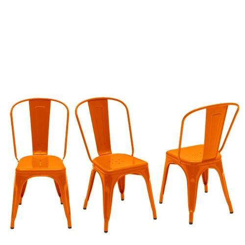 Chaise a laque design laqu orange chaise tolix xavier pauchard int rieur d co mobilier for Deco mobilier design