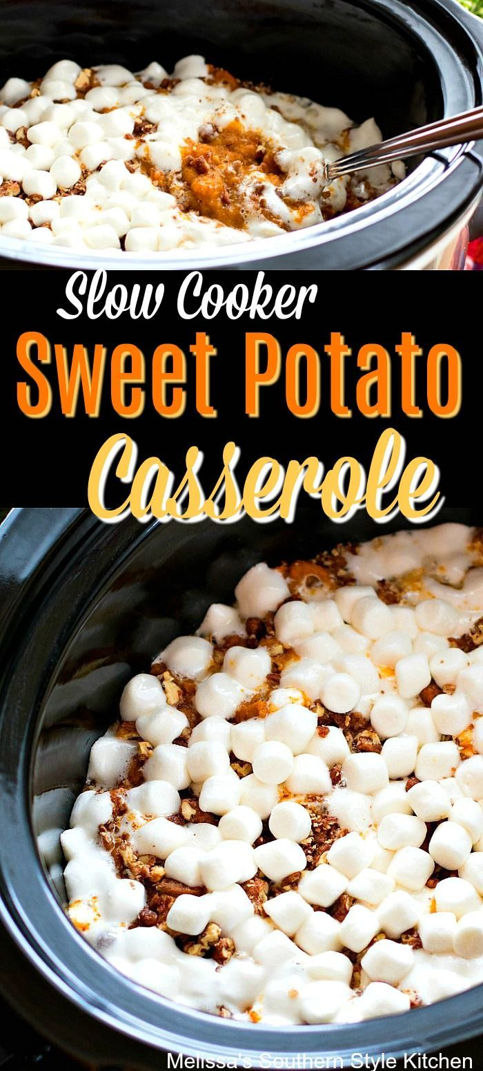 Slow Cooker Sweet Potato Casserole - melissassouthernstylekitchen.com