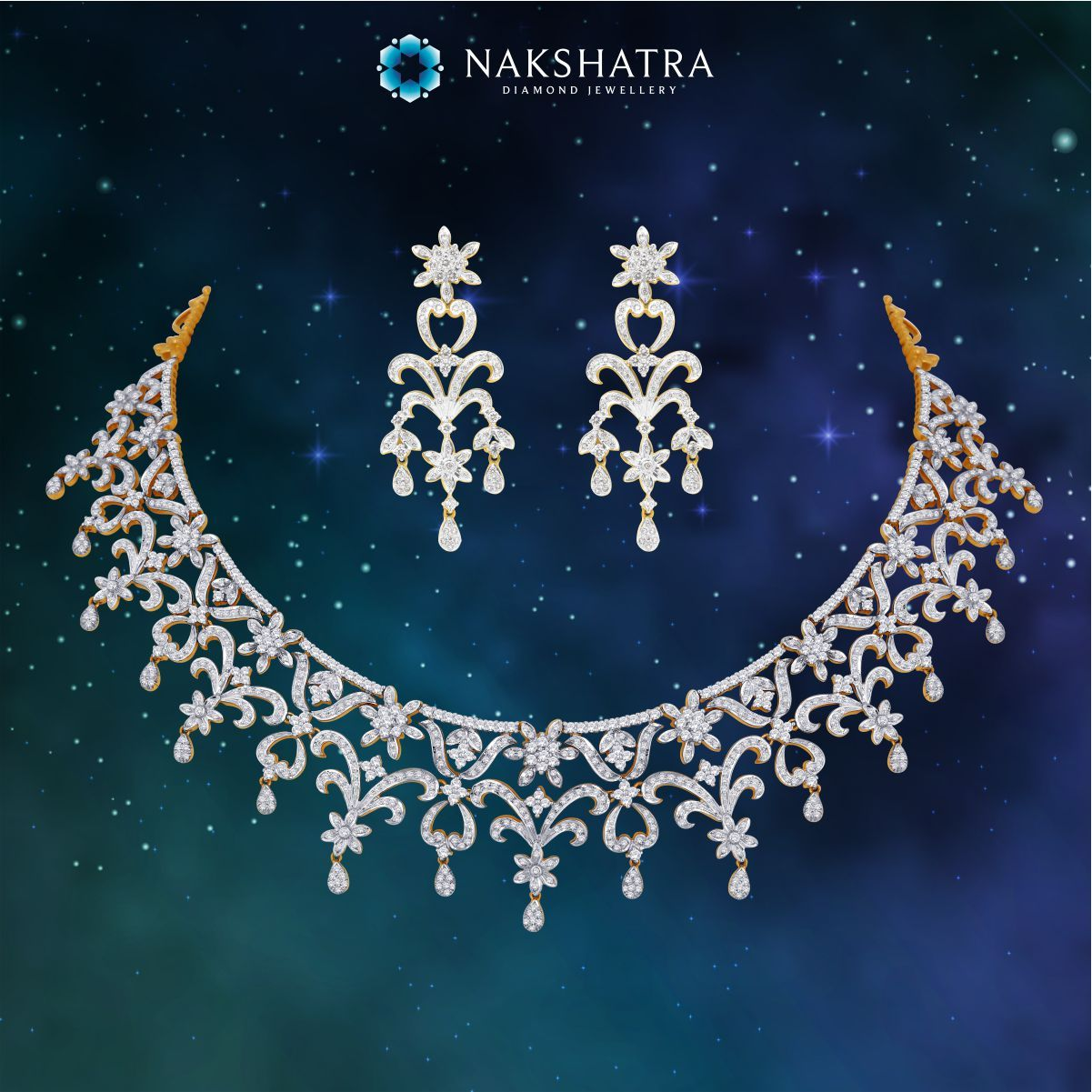 Divine splendour of the heavens is reflected in this Nakshatra diamond necklace and earring set. Ideal for the bride.  #Diamondearrings #Nakshatra #Diamondjewelery #necklaceset #bridaljewelery #bride #weddingjewelery #diamondnecklace