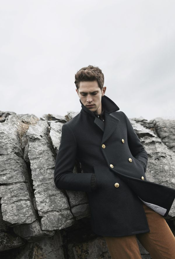 Pea coat in navy wool with gold buttons #coat #menstyle | Men's ...