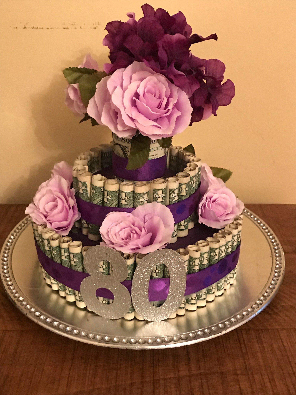 Birthday party gift money cake centerpiece graduation