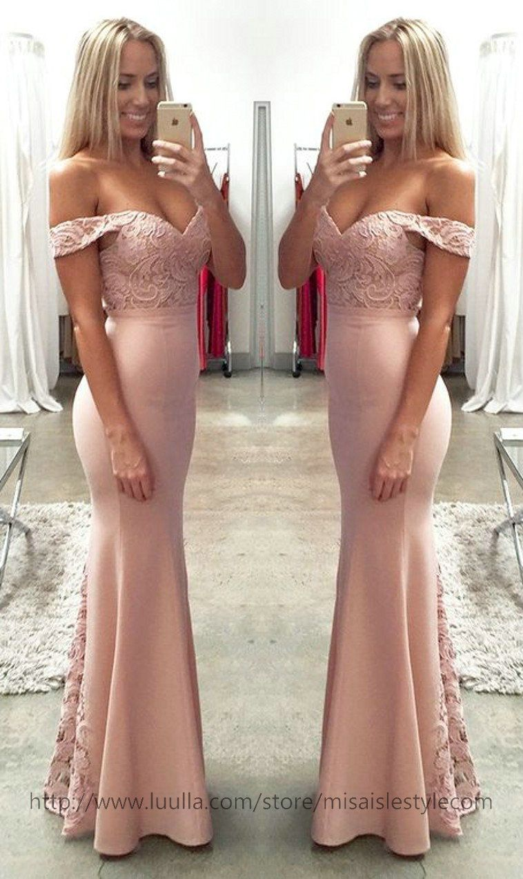 Off Shoulder Party Dress Blush Pink Lace Formal Dresses
