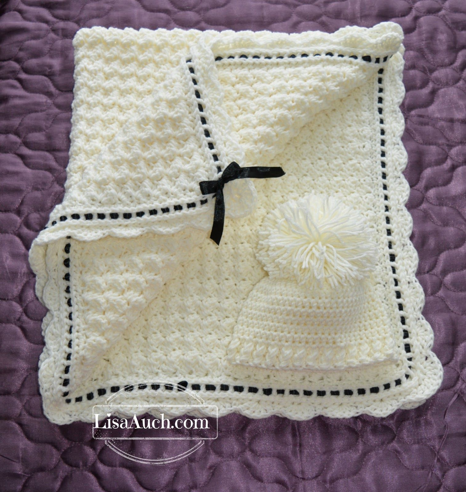 Free Crochet Pattern Baby blanket with Matching Crochet Baby Hat ...