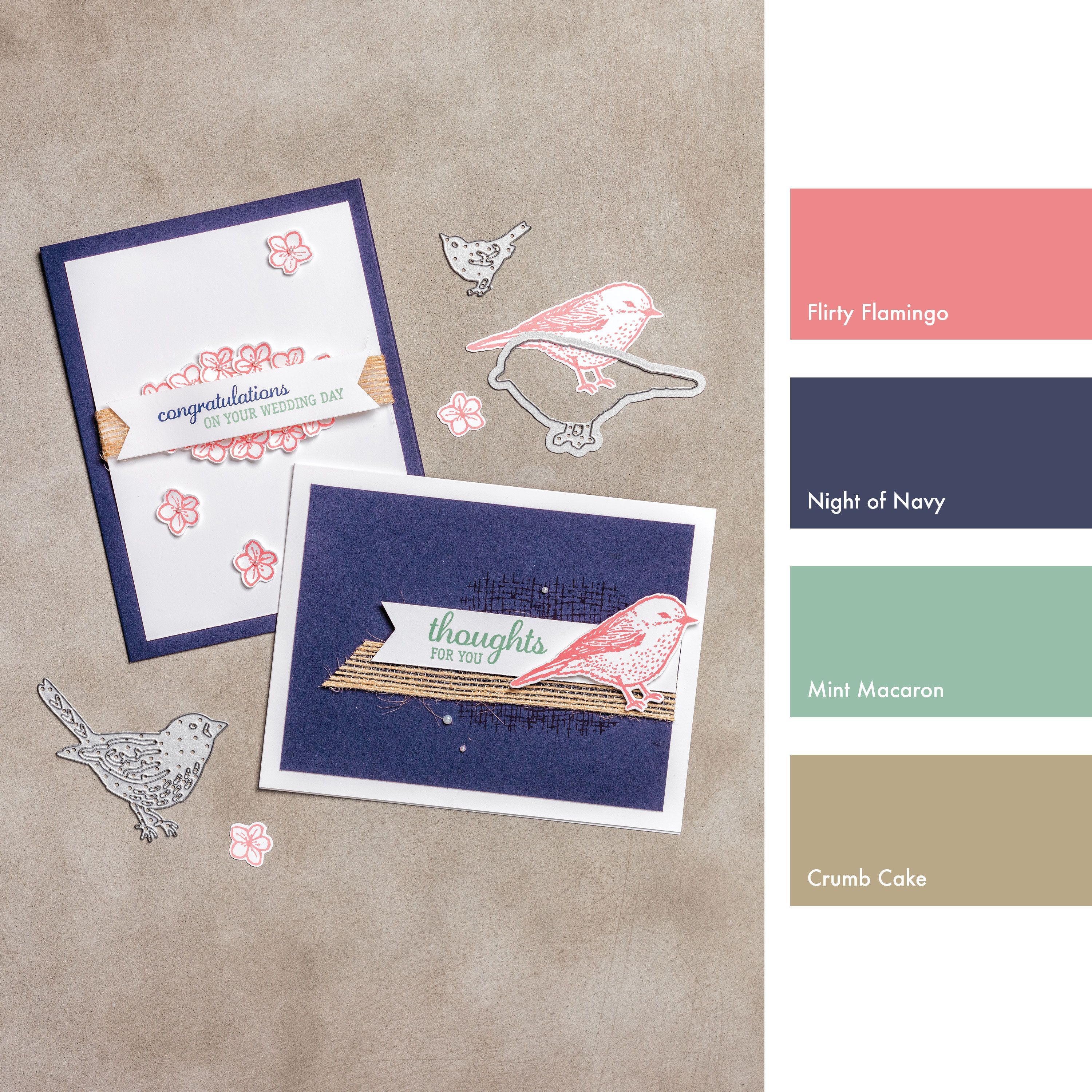 Flirty Flamingo, Night of Navy, Mint Macaron & Crumb Cake