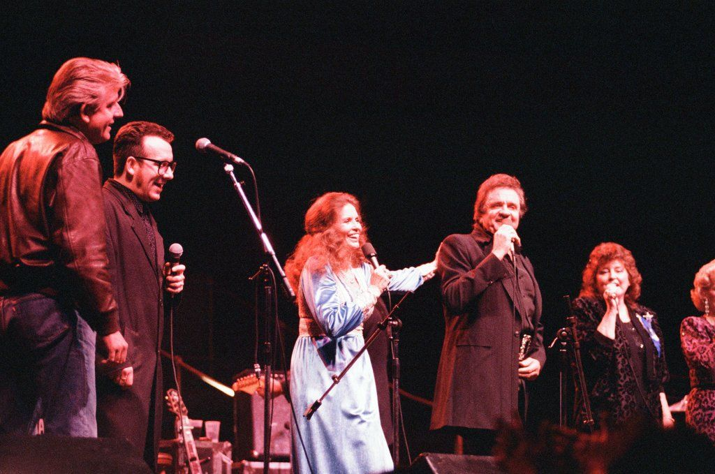 June Carter & Johnny Cash on stage at the Royal Albert Hall, London