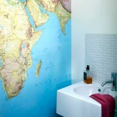 Map wallpaper in the bathroom fantasy home pinterest wallpaper map wallpaper in the bathroom gumiabroncs Choice Image