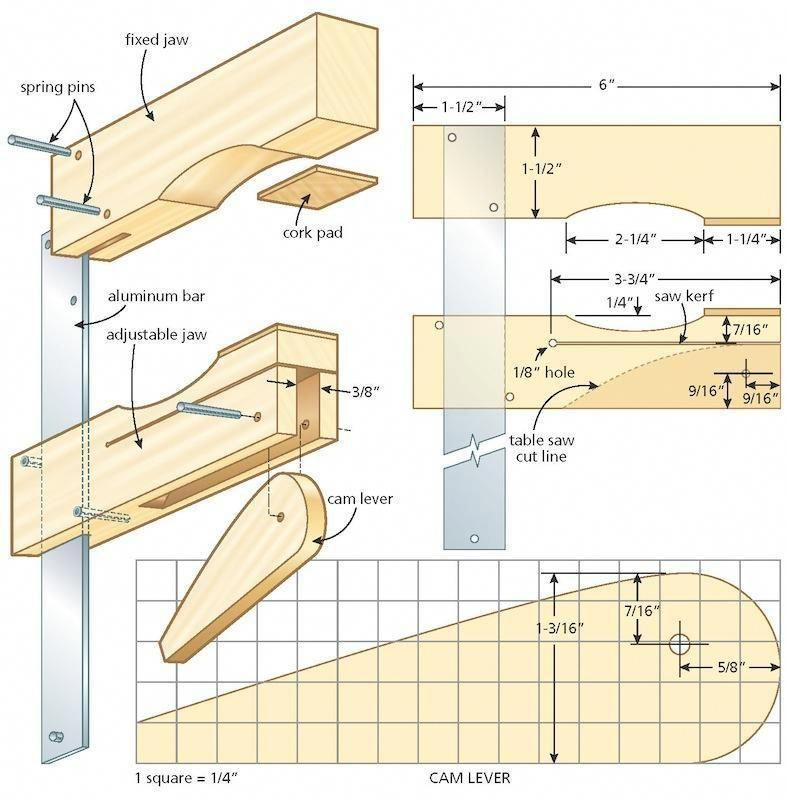 Shop Project Easy And Inexpensive To Make These Quickly Adjusting Clamps With Non Mar Woodworking Plans Woodworking Projects Plans Advanced Woodworking Plans