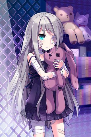Anime Mädchen + Stoffhasen