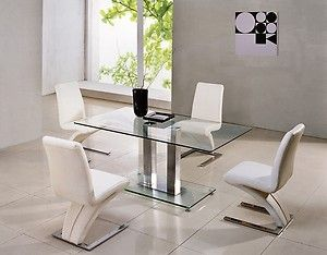 Savio Small Rectangular Glass Chrome Dining Table Only 4 Colours