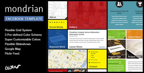 Mondrian - HTML/CSS Facebook Template Template - marketing timeline template