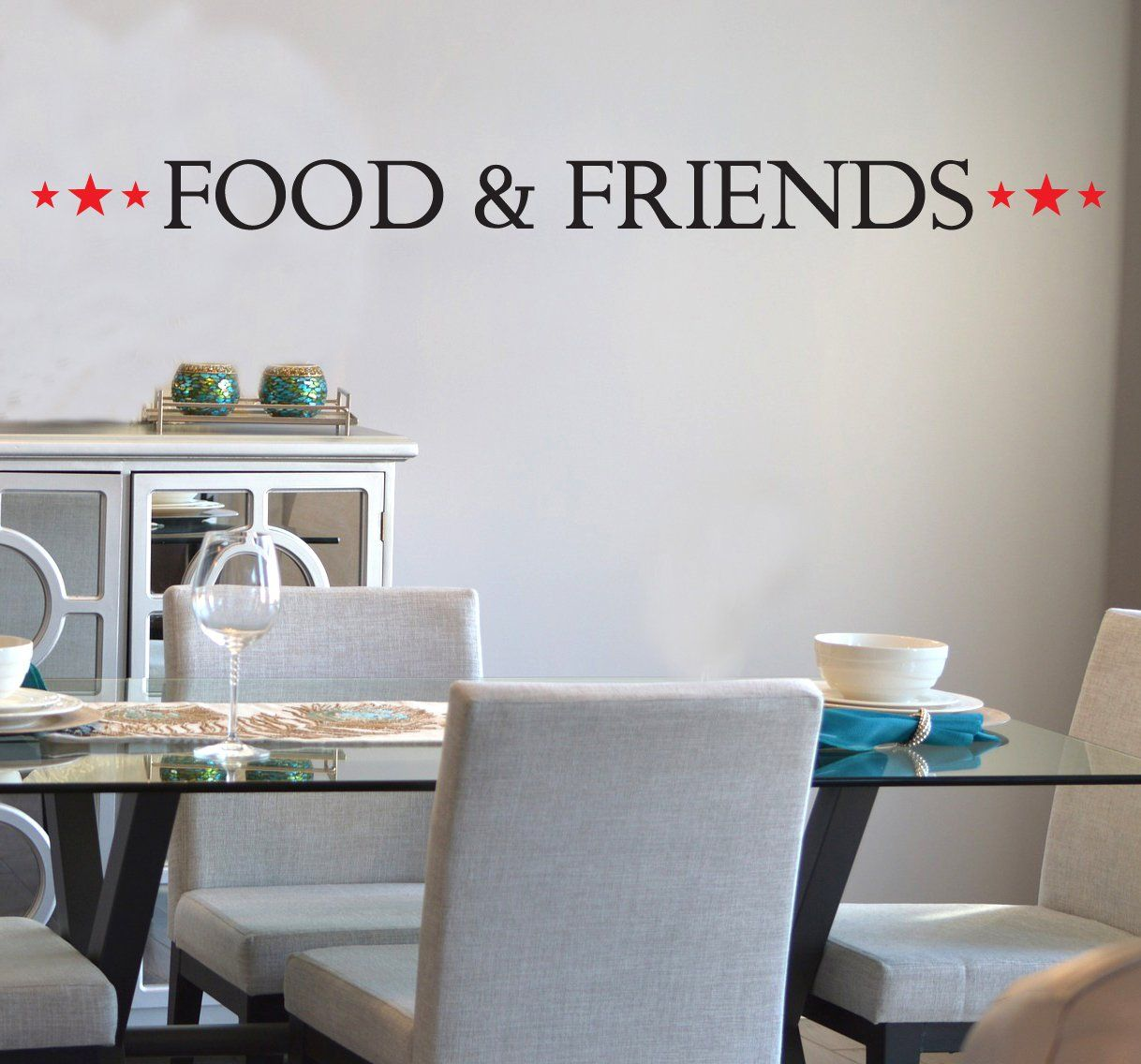 food and friends decal, kitchen wall decal, kitchen decal, dining