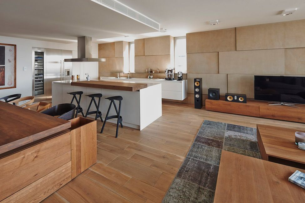 Fabulous Bartislava Riverpark Apartment Wooden Interior Dining Room KItchen Decor