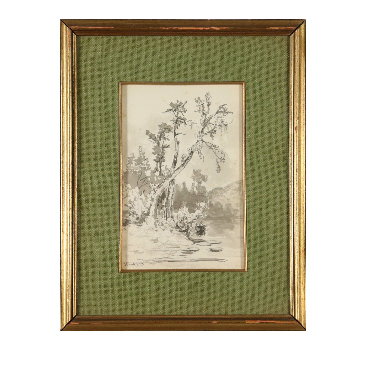 Photo of Watercolor by Giuseppe Puricelli Guerra Landscape with River 1800s