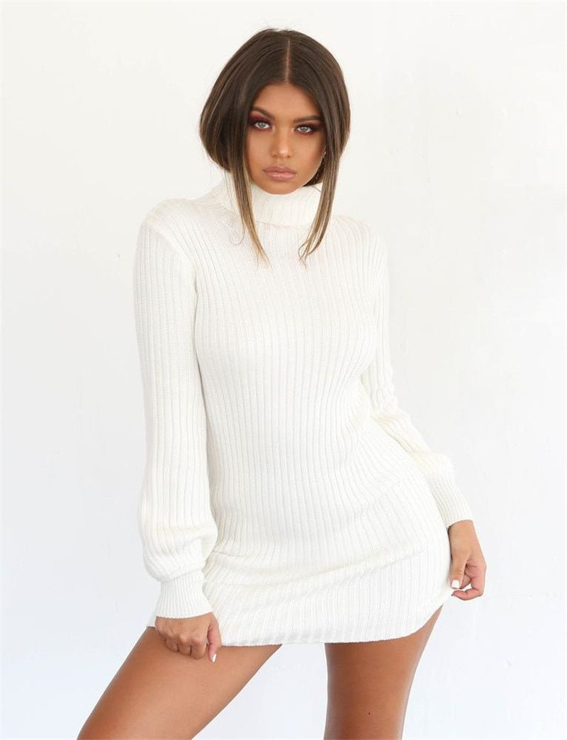 cd37f9b71474 White autumn winter long sleeve knitted dress for women. Warm cotton ...