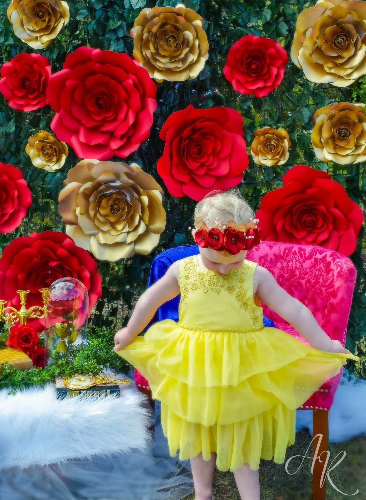 Beauty And The Beast Inspired Photo Shoot Gold And Red Diy Paper
