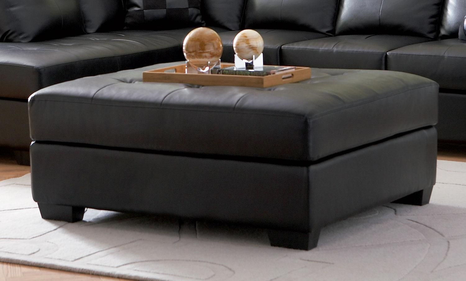 Large Black Ottoman With Storage Leather Ottoman Coffee Table