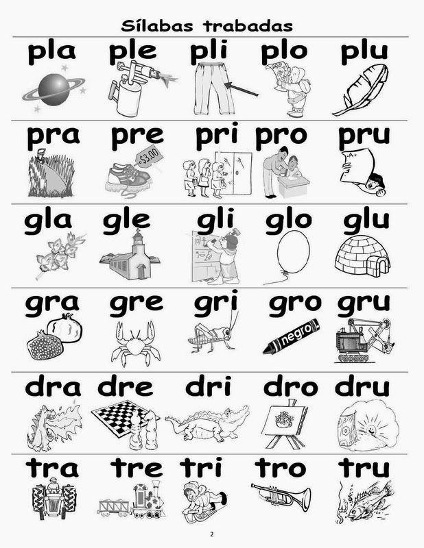Silabas Trabadas, bla, bra, cla, fla, fra, gla, gra, pla, pra, tra ...
