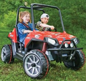 by andrew liszewski not as wimpy as your standard power wheels but not as dangerous as a real atv this all terrain polaris ride on falls somewhere in the