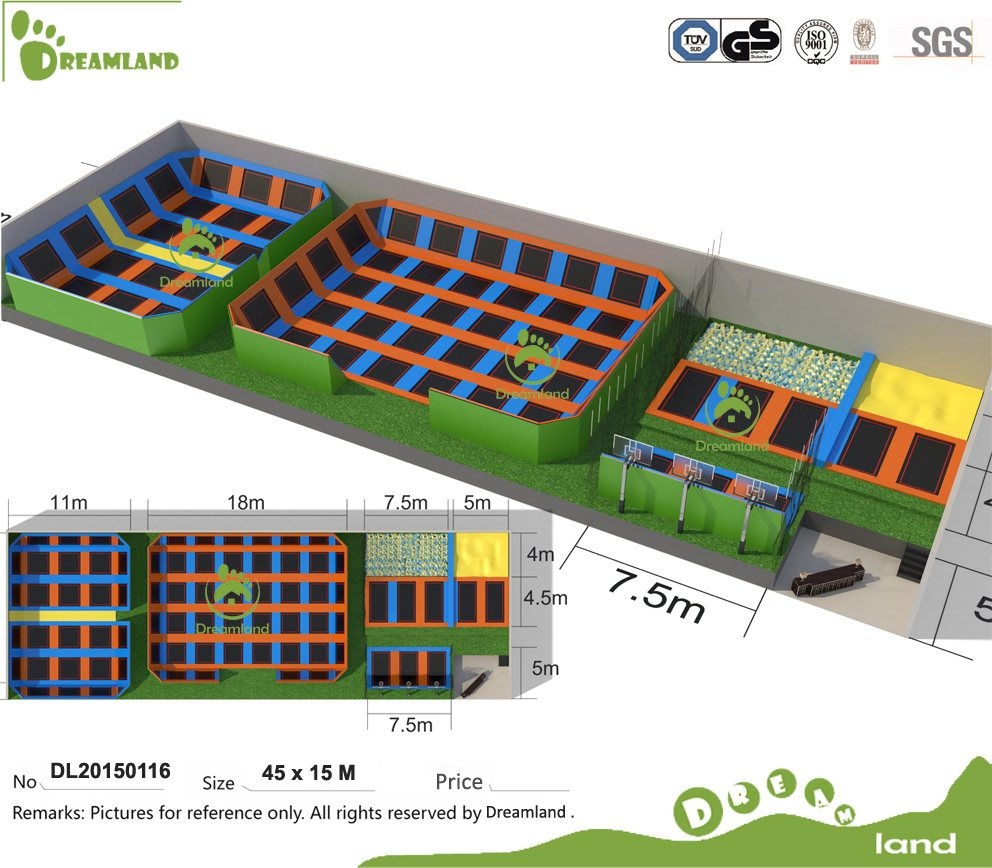 China Professional Manufacturer According To Your Room Size Indoor Trampoline Park With Foam Pit Dod Indoor Trampoline Basketball Court Layout Trampoline Park