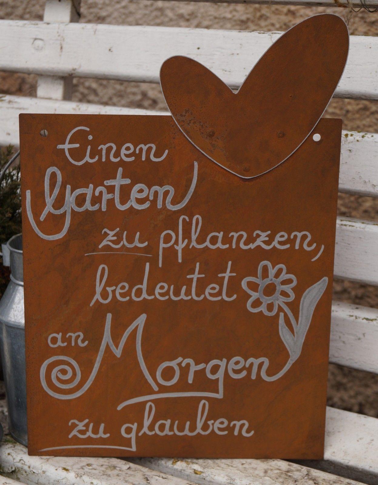 Edelrost Tafel mit Herz - Garten pflanzen... Schild ...