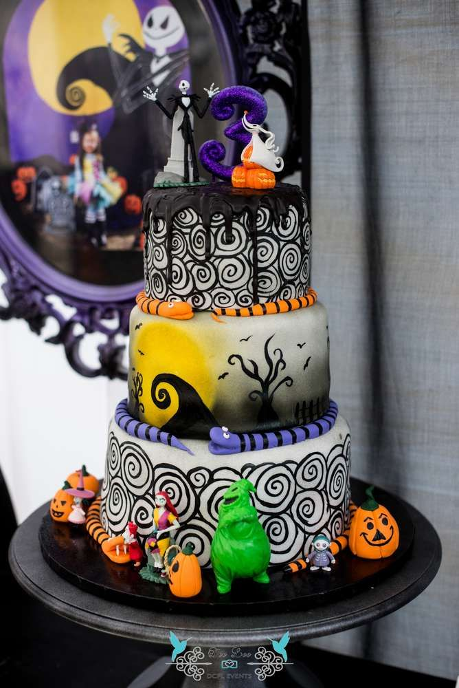 Fantastic cake at a Nightmare Before Christmas birthday party! See more  party planning ideas at CatchMyParty.com! - Fantastic Cake At A Nightmare Before Christmas Birthday Party! See