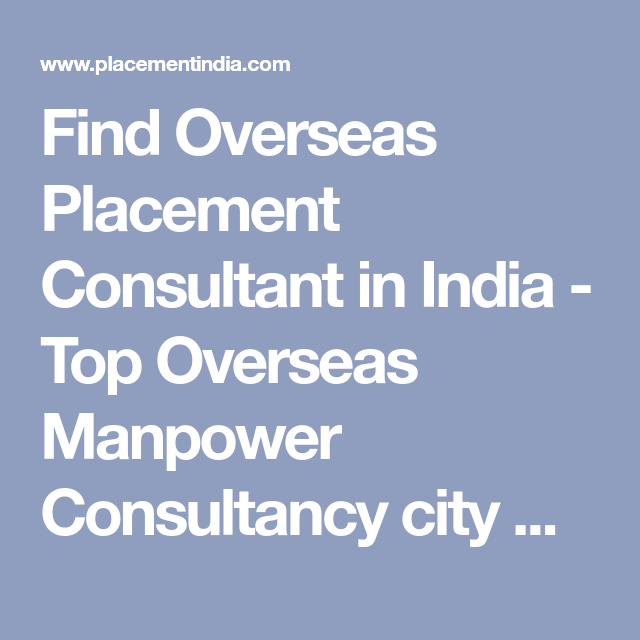 Find Overseas Placement Consultant in India - Top Overseas